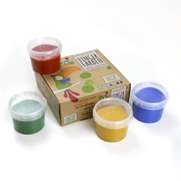 Finger paints from neogruen, natural, safe, without azo-pigments, without parabens - vegan and eco-friendly - for drawing and having fun - eco-certified