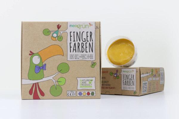 neogrün Bio-Fingerfarbe Set Aki aus natürlichen Rohstoffen