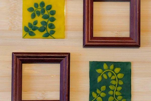 Bilderrahmen mit Knetbildern mit Knete von neogrün DIY