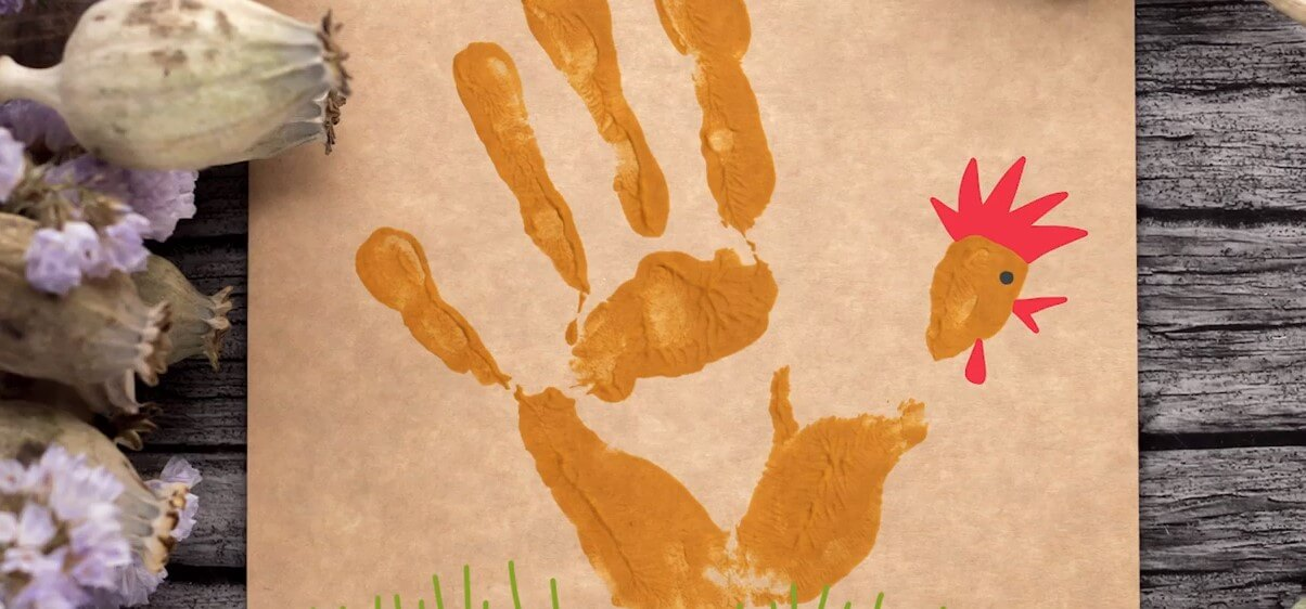 Cock-a-doodle-doo! – Your handprint turns into a rooster